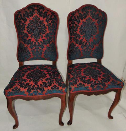 Pair of 18th Century Dutch Walnut Cabriole Leg Chairs (1 of 8)