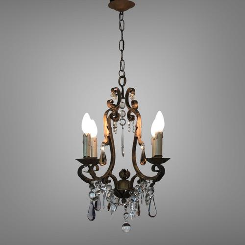Gilt Bronze Toleware Chandelier with Crystal Droplets (1 of 8)