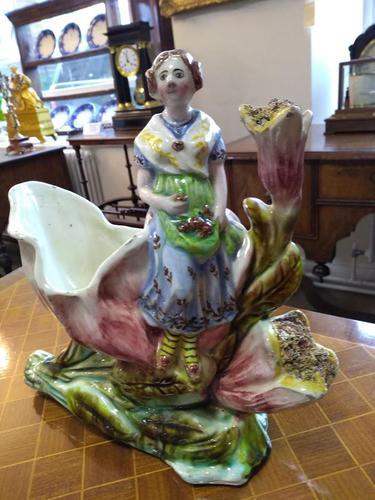 Staffordshire Pottery Flower Vase & Lady (1 of 4)