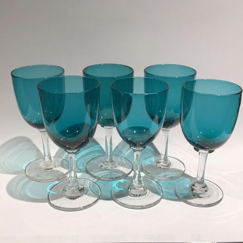 6 Victorian Green Drinking Glasses (1 of 5)