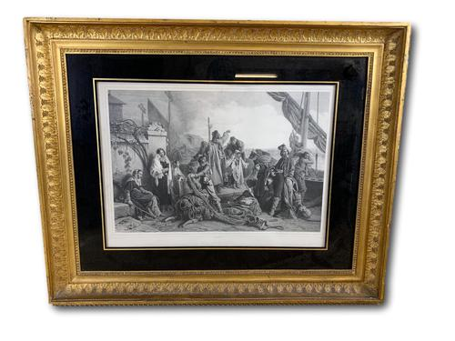 Large 19th Century French Engraving in Gilt Frame (1 of 6)