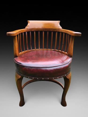 Excellent Quality Walnut Leather Desk Chair (1 of 2)