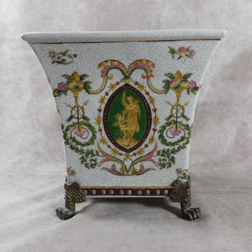 Wong Lee, French Renaissance Style, Bronze Footed, Craquelure Glaze, Jardinière (1 of 9)