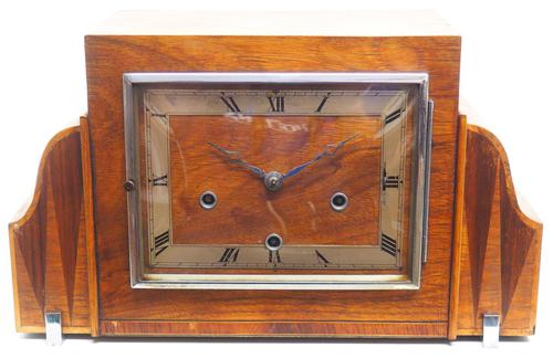 Fine Smiths Art Deco Mantel Clock Triple Chime 8 Day Westminster Chime Mantle Clock (1 of 10)