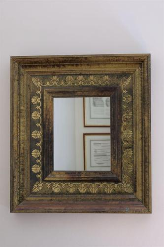 Vintage Green & Brass Wall Mirror With a Marble Effect Paint Finish (1 of 8)