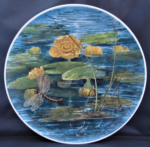 Hand painted Aesthetic Period Copeland pottery footed plate signed & dated 1878 (1 of 9)