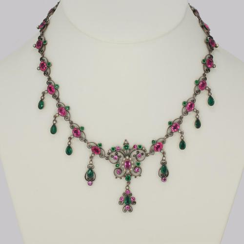 Victorian Pearl Pink & Green Paste Necklace Antique Austro Hungarian Swag & Scroll Necklace (1 of 7)