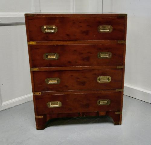 1861 Yew Wood Campaign Chest with IV Lancers Plaque (1 of 6)