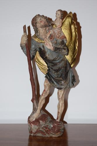 Italian Hand Carved Wooden St. Christopher (1 of 6)