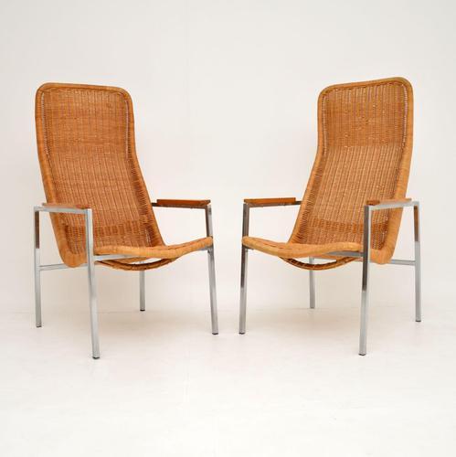 Pair of Vintage Chrome & Rattan Armchairs by Dirk Van Sliedrecht (1 of 11)