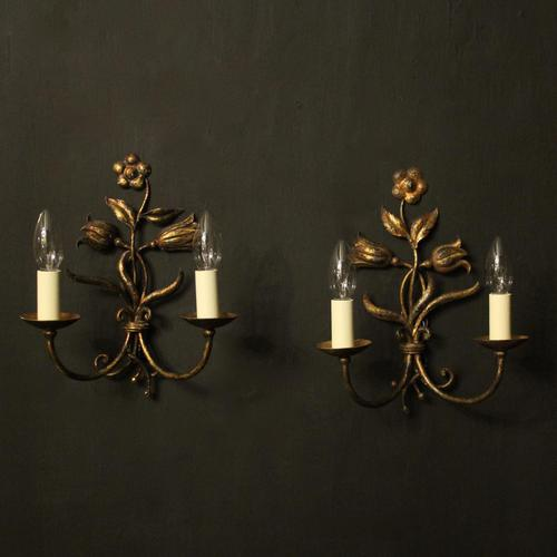 Florentine Pair of Toleware Twin Arm Wall Lights (1 of 10)