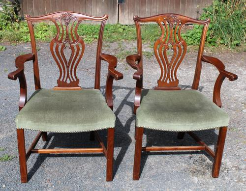 1920s Pair of Mahogany Carver Chairs with Pop-out Seats (1 of 3)