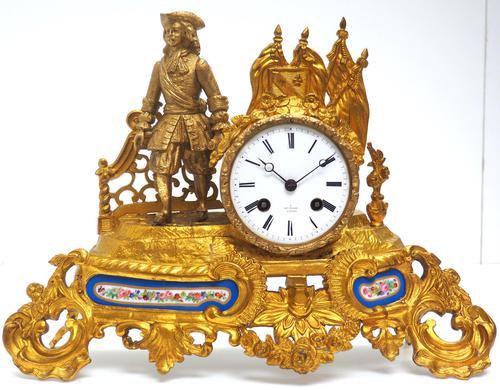 Antique 8 Day Ormolu Mantel Clock Sevres Cavalier Explorer French Mantle Clock (1 of 6)