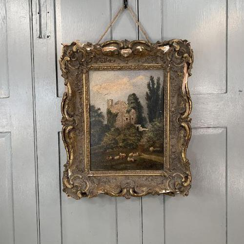 Antique Victorian landscape oil painting study of a ruin with sheep (1 of 10)