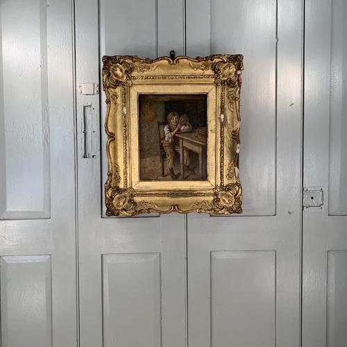 Antique Georgian oil painting study of boy in kitchen scullery with pewter plate (1 of 10)