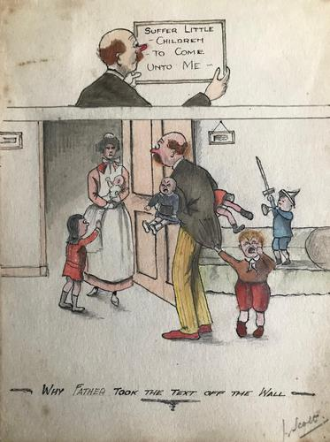 Original watercolour 'Why father took the text off the wall'. Signed J Scott. c.1920. On the reverse is a pen drawing. (1 of 2)