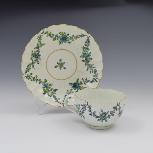 First Period Worcester Porcelain Fluted Cup & Saucer c.1770 (1 of 10)