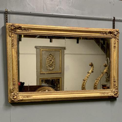 Large French gilt landscape overmantle mirror (1 of 6)