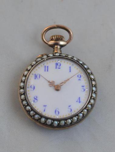 Ladies Swiss Enamel Pocket Watch (1 of 4)
