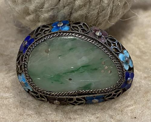 Chinese Jade, White Metal and Enamel Brooch (1 of 5)