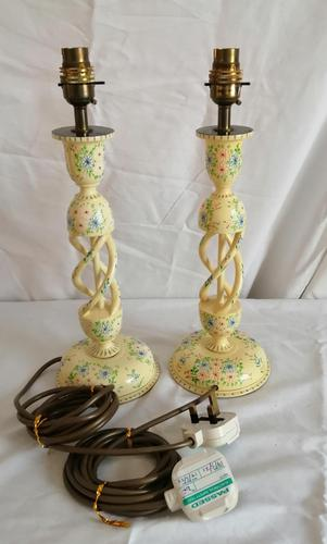 Pair of Kashmir Painted Lamps (1 of 6)