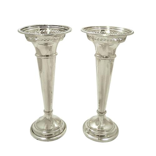 """Pair of Antique Sterling Silver 7 1/2"""" Vases 1926 / 1927 (1 of 8)"""