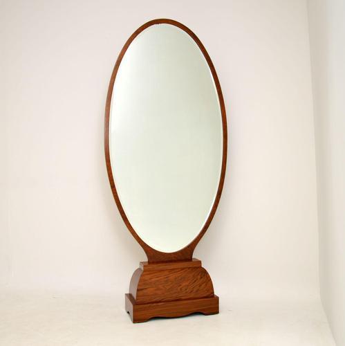 French Art Deco Walnut Free Standing Mirror (1 of 11)