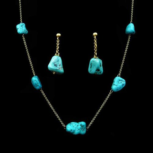 Antique Victorian Turquoise Matrix Nugget 9ct 9K Gold Chain Necklace and Earring Set (1 of 10)