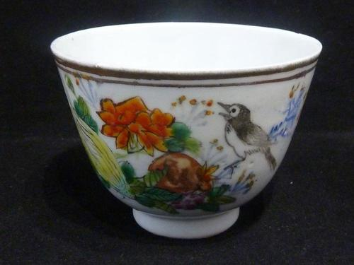 Good Early 20th Century Chinese Porcelain Famille Rose Magpie Teabowl - Signed (1 of 5)