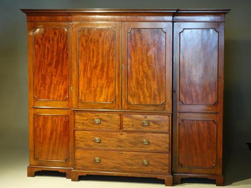 George III Period Mahogany Breakfront Wardrobe (1 of 8)