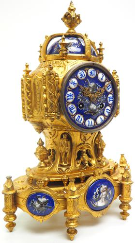 Antique 8 Day Ormolu Mantel Clock Sevres Gothic Knight Tower French Mantle Clock (1 of 8)