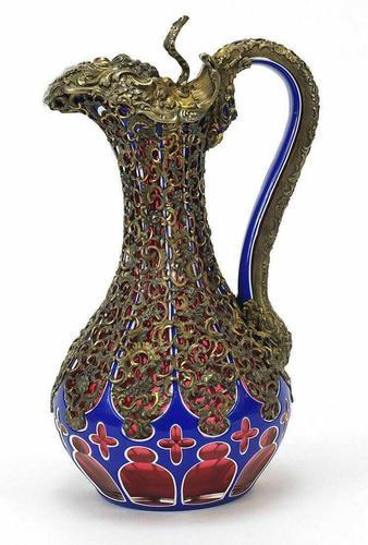 Good Biedermeier Bohemian Overlaid Glass Ewer (1 of 6)