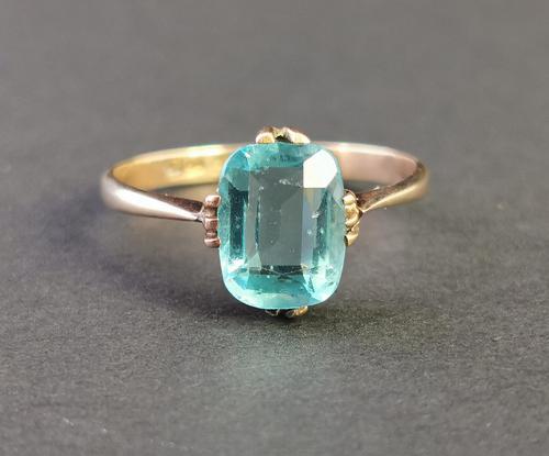 Vintage Art Deco Blue Zircon Solitaire Ring, 9ct Gold (1 of 9)