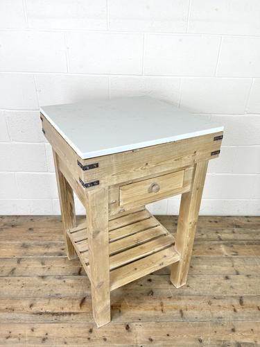 Rustic Wooden Butcher's Block with Marble Top (1 of 10)
