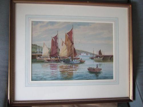 "A D Bell 'aka Wilfrid Knox' Watercolour ""Drying Sails Dated 1953 (1 of 5)"