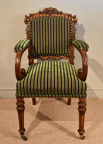 William IV Carved Oak Armchair (1 of 5)