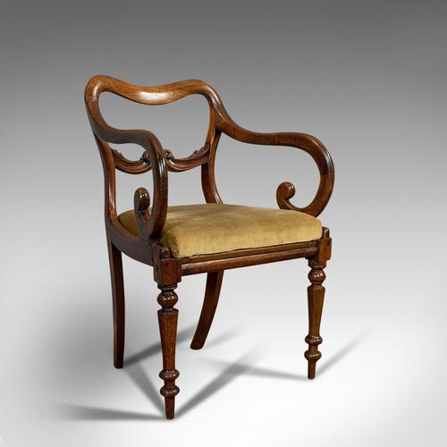 Antique Scroll Armchair, English, Mahogany, Buckle Back, Seat, William IV, 1835 (1 of 11)