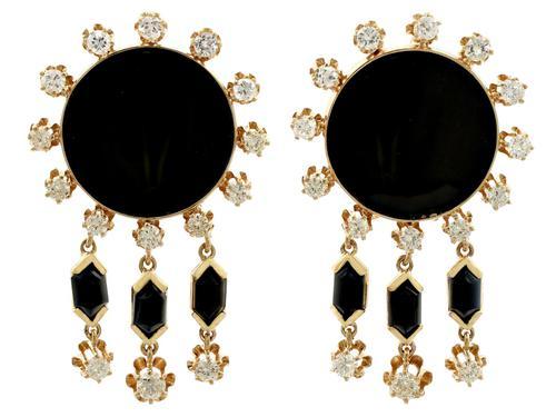 1.40ct Diamond & Onyx, 14ct Yellow Gold Drop Earrings - Art Deco Style - Vintage c.1950 (1 of 9)