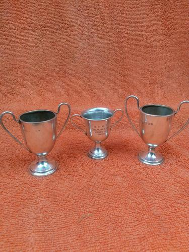 3 x Antique Sterling Silver Hallmarked Silver Trophies Cups C1930's (1 of 12)