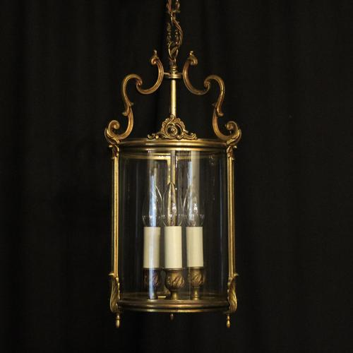 French Gilded Triple Light Convex Hall Lantern (1 of 10)