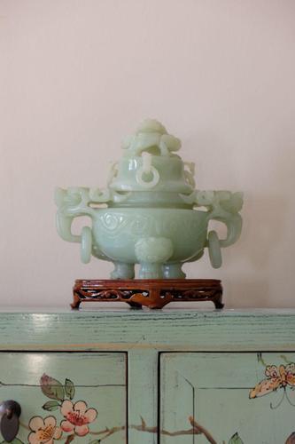 Carved Jade Twin Dragon Handled Tripod Incense Censer (1 of 18)