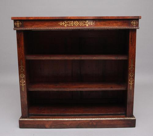 Early 19th Century Rosewood & Brass Inlaid Open Bookcase (1 of 9)