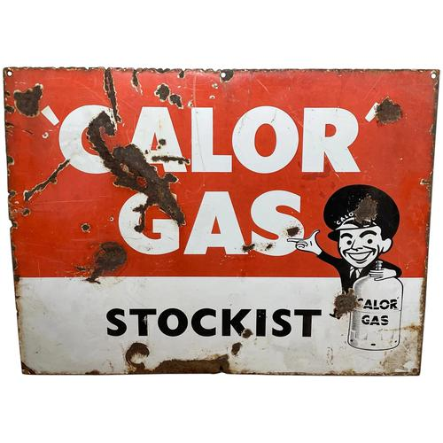 Vintage Original English 1950's Enamel Advertising Sign Calor Gas Stockist (1 of 22)