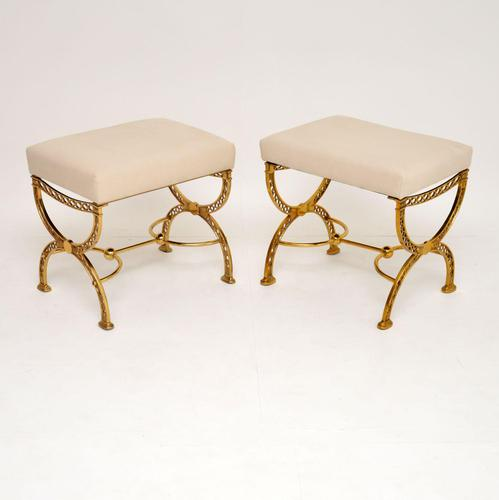 Pair of 1970's Vintage Brass Stools (1 of 9)