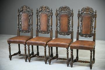 4 Carved Oak Dining Chairs (1 of 13)