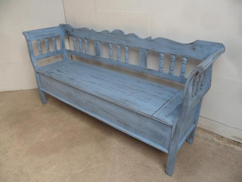 Quality Sky Blue 3 Seater Antique Pine Kitchen / Hall Box Settle/ Bench (1 of 9)