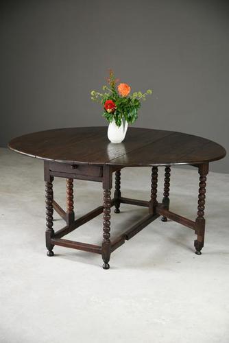 Rustic Oak Drop Leaf Dining Table (1 of 12)