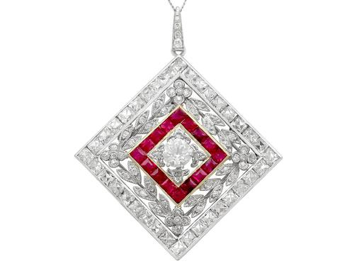 3.48ct Diamond & 0.53ct Ruby, Platinum Pendant / Brooch - Antique c.1900 (1 of 15)