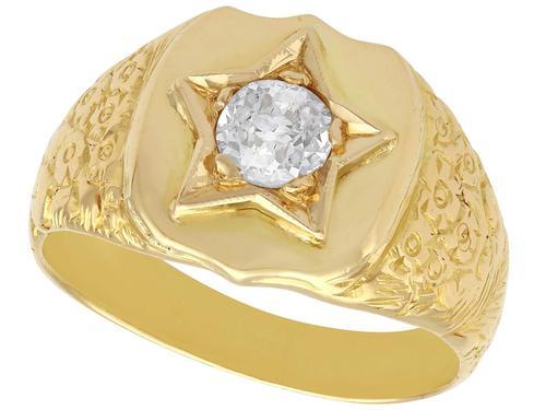0.45ct Diamond & 18ct Yellow Gold Signet Ring - Antique c.1900 (1 of 9)