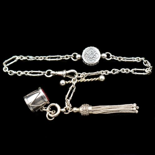 Antique Victorian Sterling Silver Albertina Albert Watch Chain Bracelet with Tassel and Drum Charm (1 of 14)